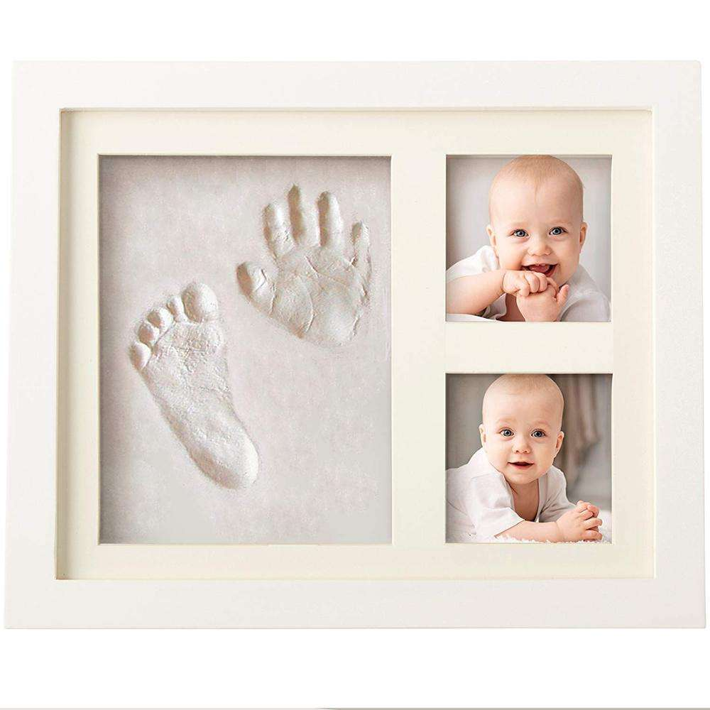DIY Wholesale Wood Newborn 12 months baby Photo Frame Baby Handprint Footprint Kit With Clay