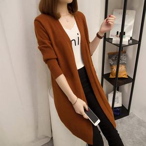 New Fashion Spring Autumn Women Girls Long Sleeve Solid Color Cardigan Casual Long Slim Knitted Sweater Loose Knitwear