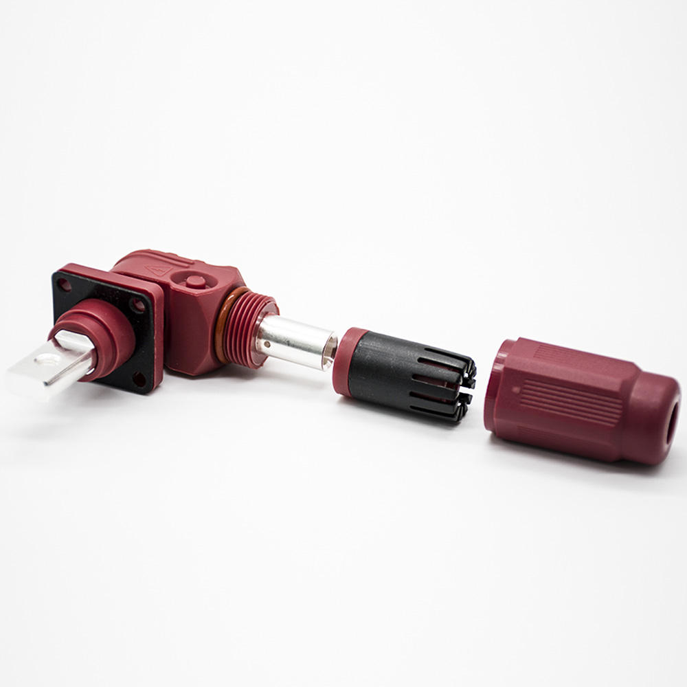 Red 90 Degree Male to Female 1 Pin 14mm 400A IP67 Plastic Surlok Connector