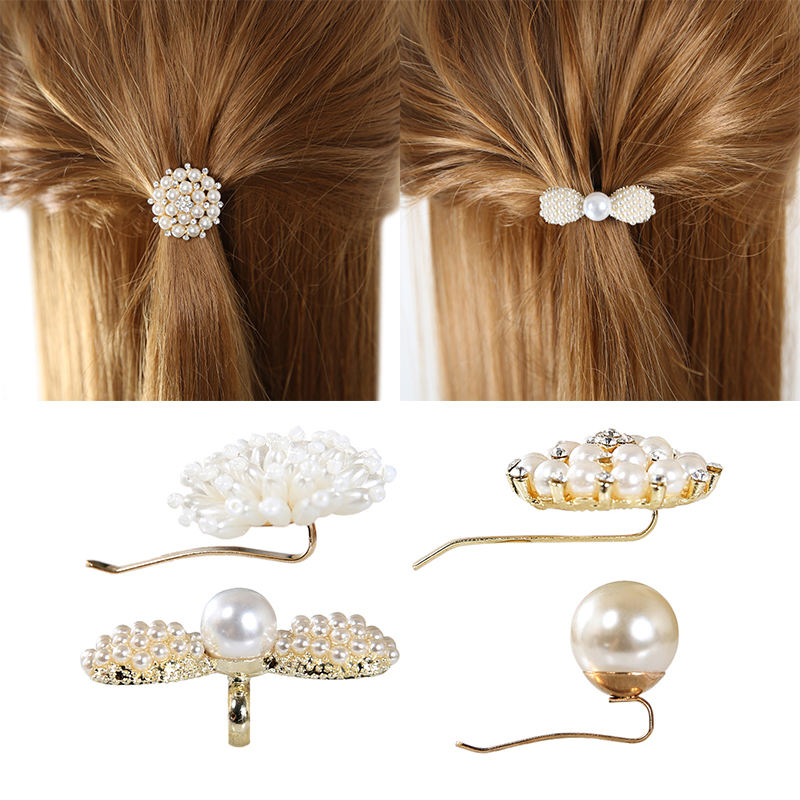 Free sample Korean style pearl ponytail button ball head ponytail hairpin pin hair accessories