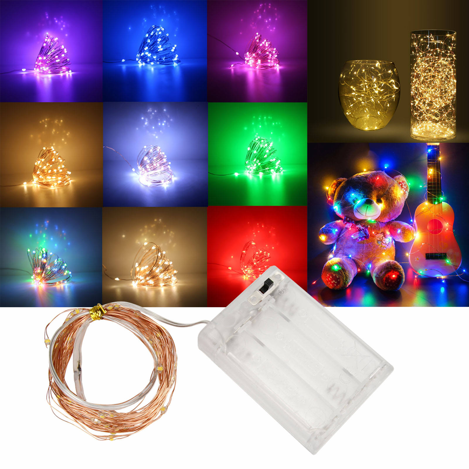 Battery Powered 4.5V LED Copper Wire String Lights 5M 50 LEDs Garland Home Christmas Wedding Party Decoration Fairy DIY light