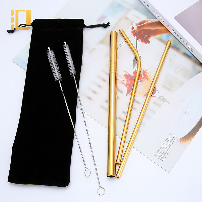 stainless steel drinking straws wholesale environmentally friendly gold edible straw metal drinking straws set