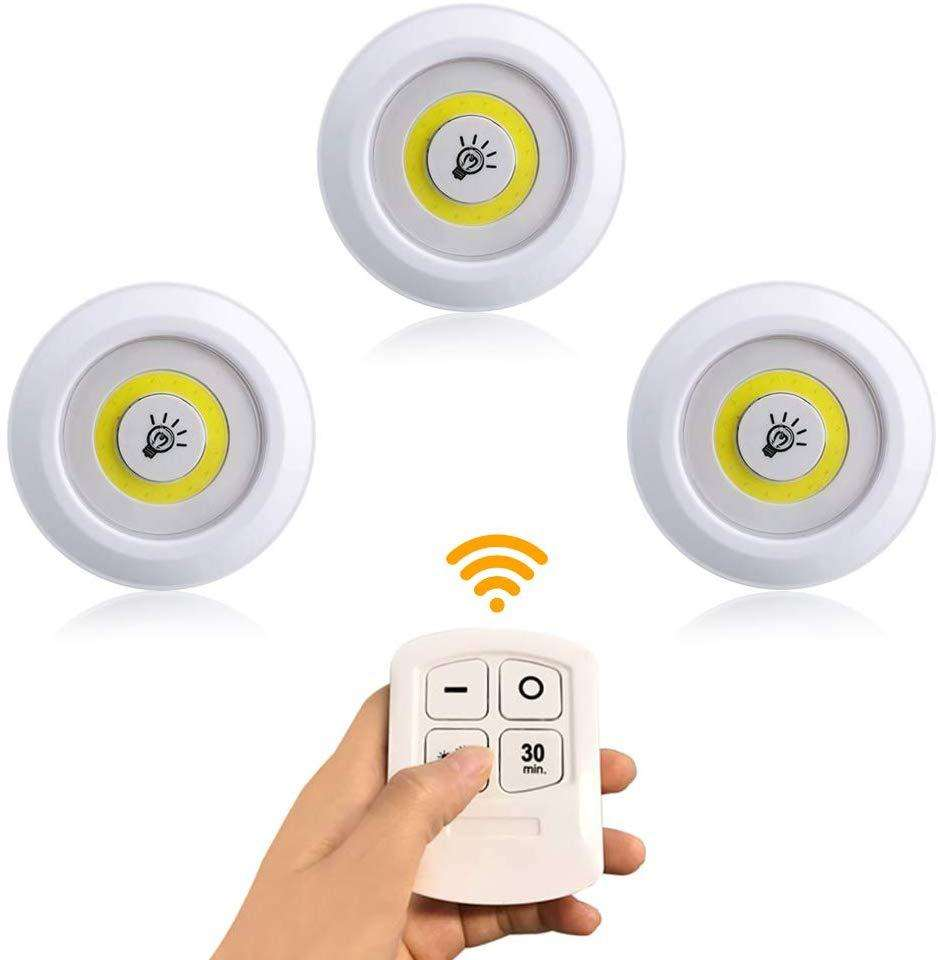 3Pack Ultra Bright 250 Lumen COB LED Wireless Closet light lamp 3*AAA battery Powered Remote Control Touch Under Cabinet light