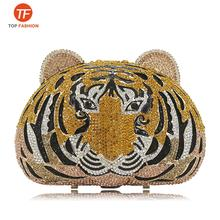 China Factory Wholesales Crystal Rhinestone Clutch Purse for Formal Party 3 D Tiger Head Diamante Evening Bag