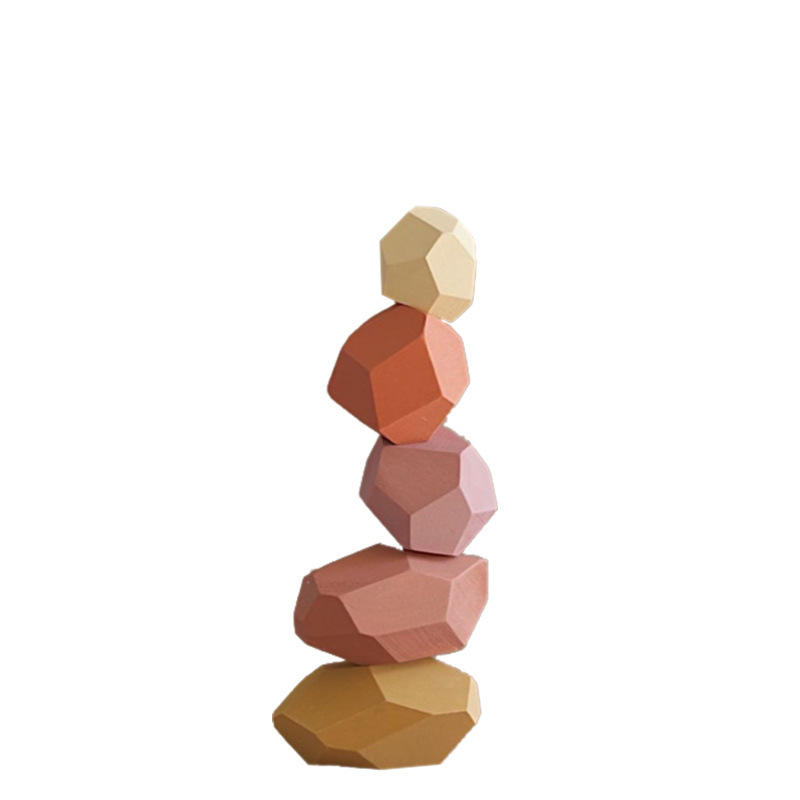 Early Educational Toy 3-6 Years Old Stacked Stone Kids Multicolor Wooden Building Blocks