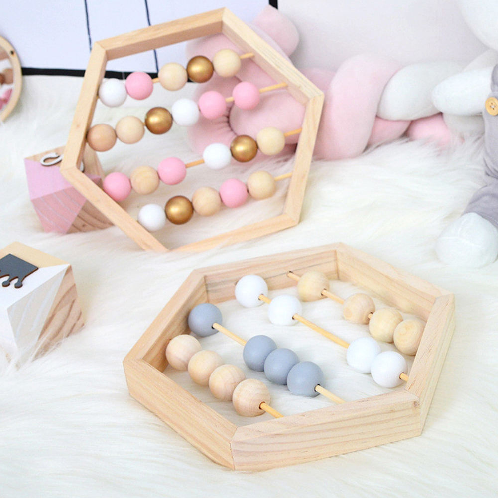 Nordic Style Wooden Abacus With Beads Craft Toy Montessori Toys Early Educational