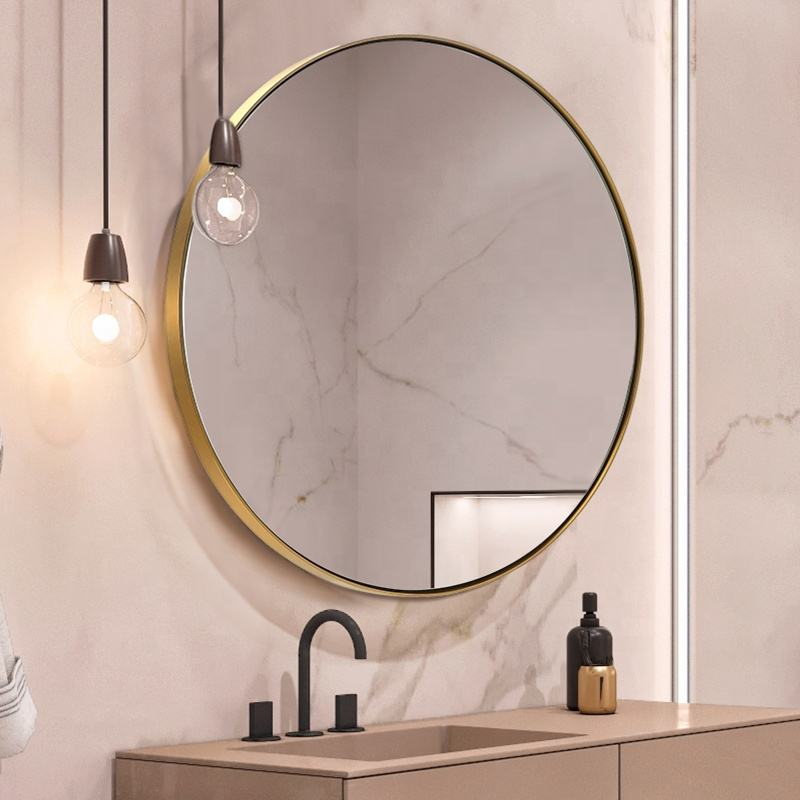 Modern Luxury Hotel Bathroom 50 60 70 80cm decorative antique Gold Metal Frame Round Wall Mirror