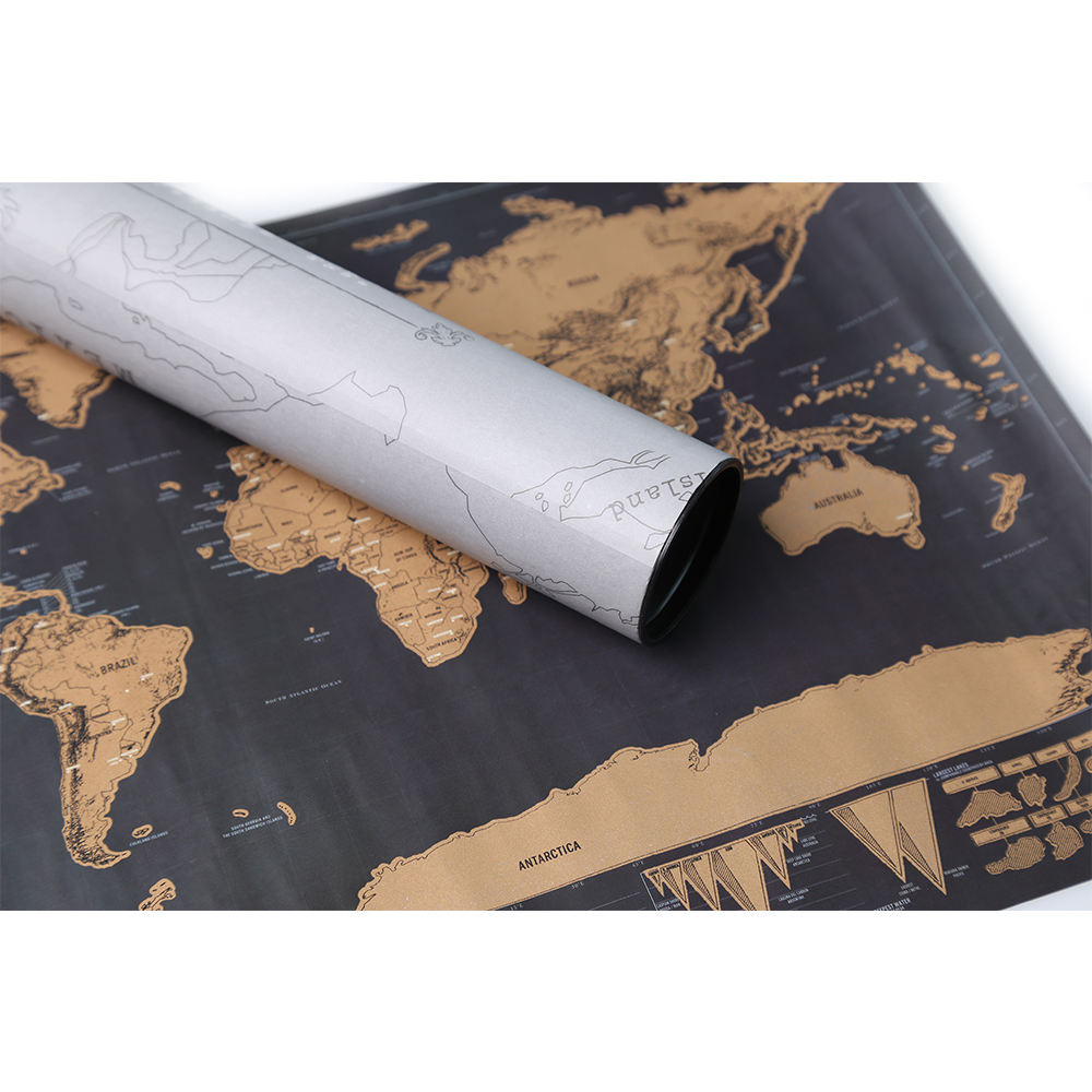 Custom travel scratch off map of the world deluxe travel map scratch off map of the world