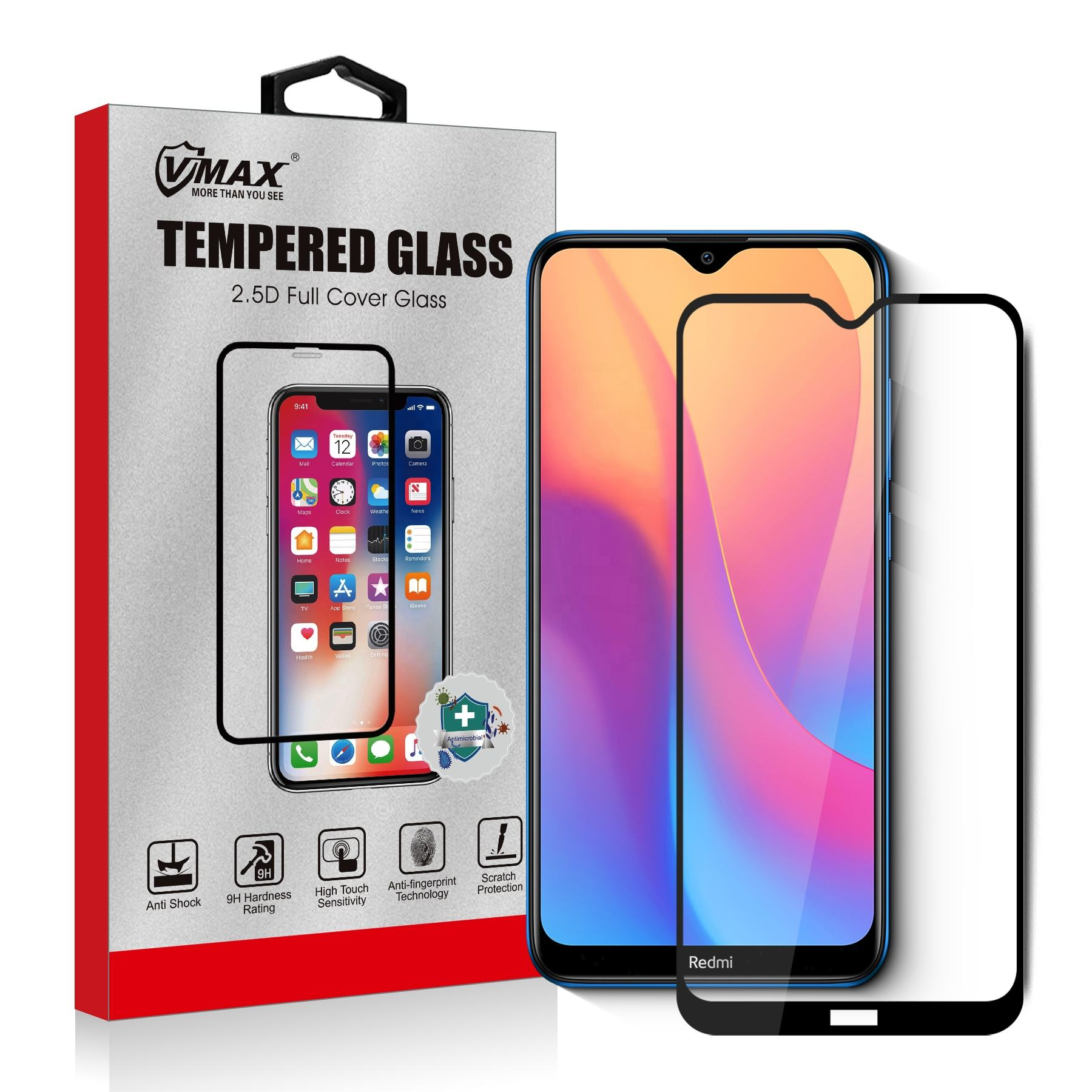 For Xiaomi Redmi 8 8A Screen Protector Tempered Glass 6.22 inch Full Screen Coverage Anti Scratch Protective Film