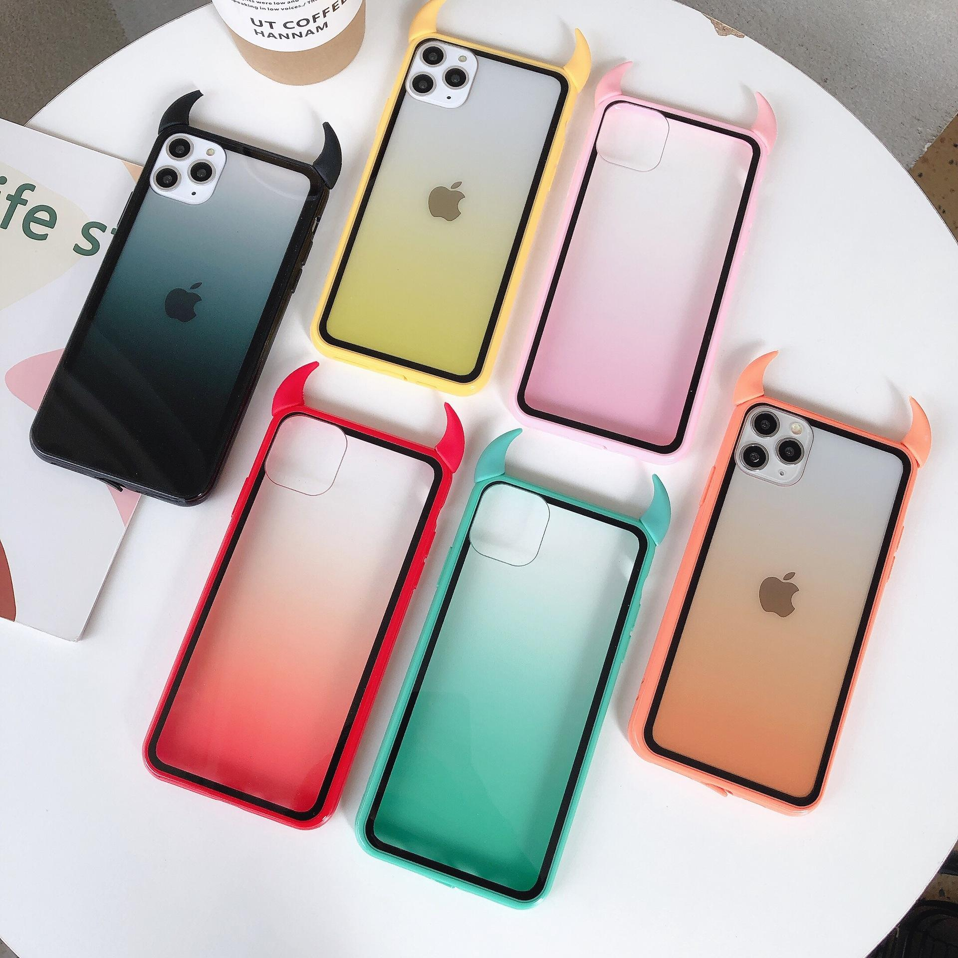 Hot Sale Cool Gradient Cute Devil Horn Phone Case for iPhone 12 Rainbow Clear Acrylic Back Cover For iPhone 11/8/7/XR/X/XS/Max