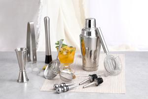 Stainless Steel Boston Cocktail Shaker Set Bar Accessory Set with Bamboo Holder Rack Bar tools set
