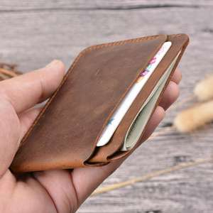 Boshiho Retro Men Credit Id Coin Leather Front Pocket Black Slim Customise Crazy Horse Leather Business Wallet Card Holder