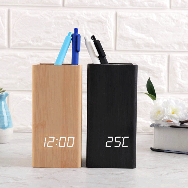 Voice touch sensing wooden pen holder with clock, Desktop table clock with pen stand LED Display desk clock with pen holder