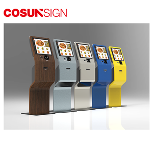 Shenzhen Lean System Hotel Check In Card Reader Cash Payment 24 Free Standing Self Serving Kiosk With Camera