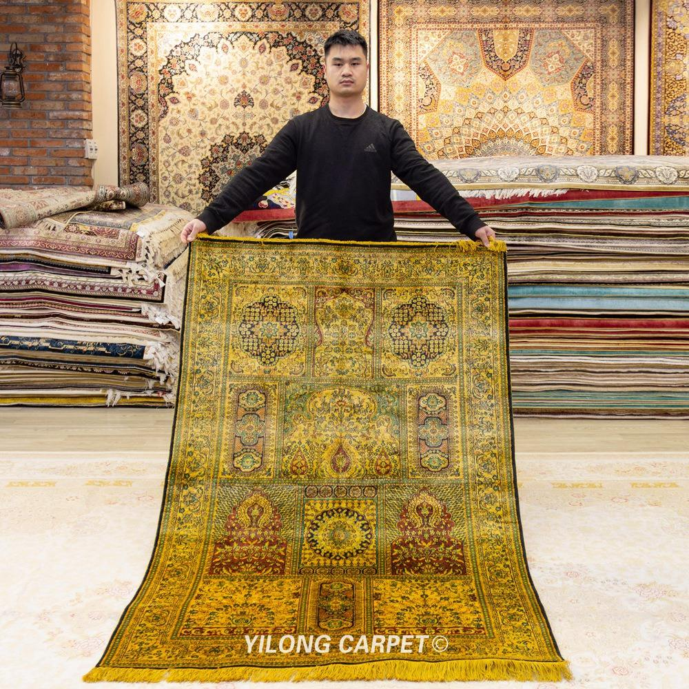 YILONG 4'x6' Antique oriental handknotted silk carpet handmade turkish pure silk rug