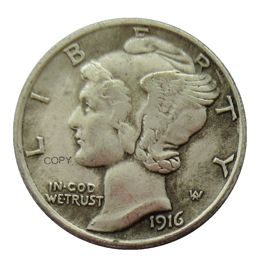 1916D Mercury Dime Made in 90% Silver Reproduction USA Decorative Custom Coins