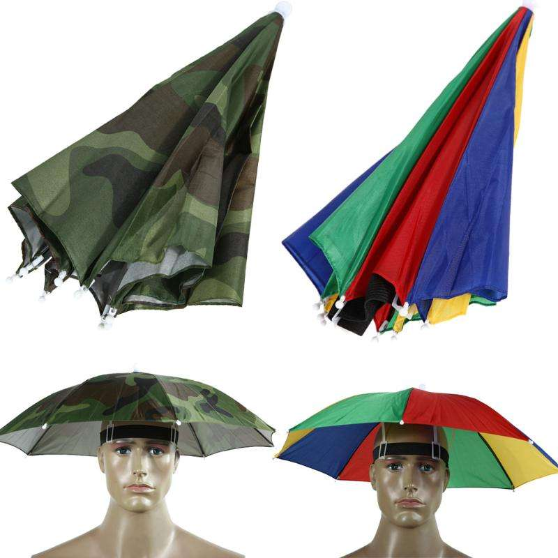 Metal Frame Umbrella Hat Foldable Umbrella Hat Caps Umbrella For Fishing Hiking Beach Camping Headwear Head Umbrella Outdoor Sports Rain Gear