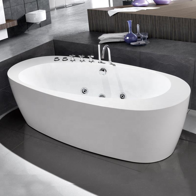 Freestanding Massage Bath Tub Acrylic Whirlpool Oval Bathtubs