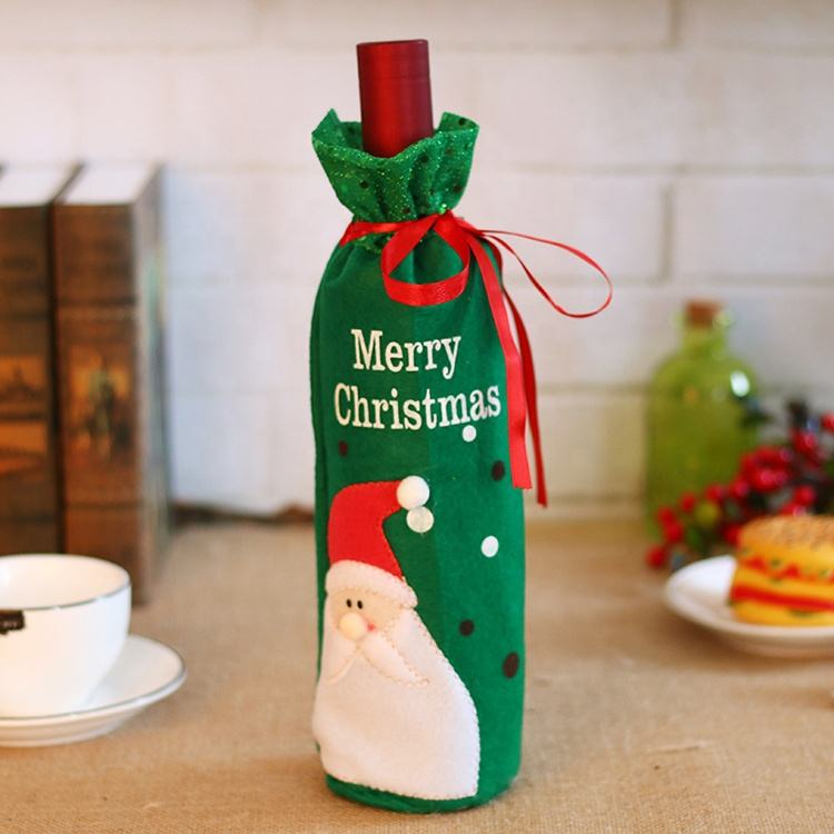 Promotional wholesale custom Christmas foldable color print insulated beer can white red wine bottle cooler for kids child