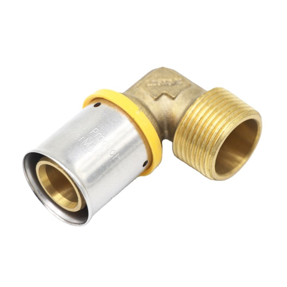 brass forged male elbow pipe fitting for press connection