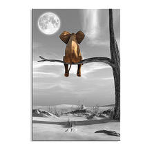 Canvas Prints Animal Resting Elephant Look at The Moon Wall Pictures Wall Decor on Canvas Artwork