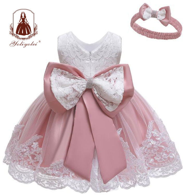 Yoliyolei Baby Girl Clothes Ball Gown Princess Dress Infant Formal Birthday Baptism Party Kids Flower Girl Dresses With Big Bow