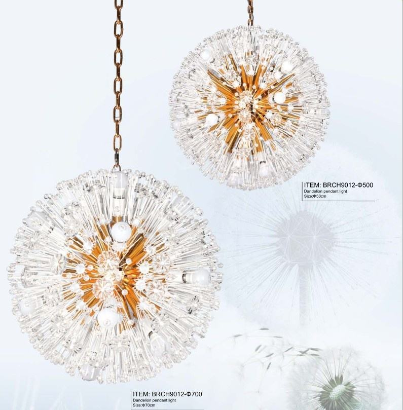 Modern Indoor Design Dandelion Crystal Lighting For Restaurant Decor Chain Glass Chandelier Pendant Light