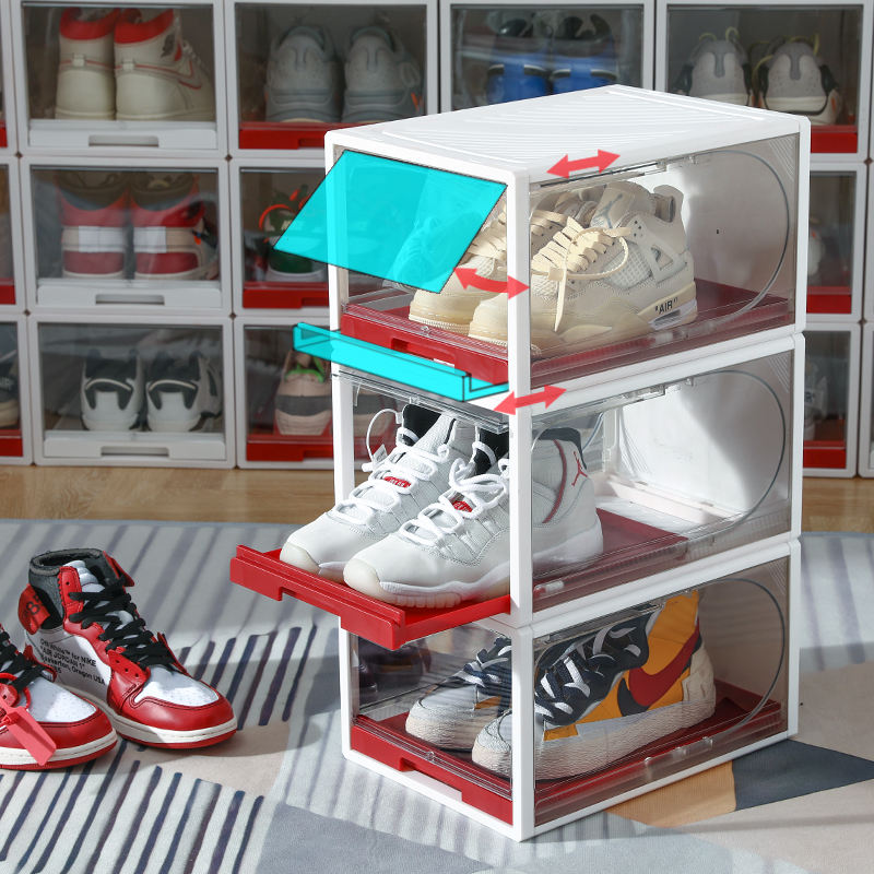 Hot sale easy assembly plastic shoe box drawer type storage shoe box clear shoe boxes transparent stacked organizer