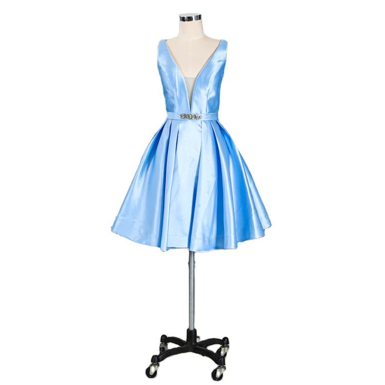 Fashion candy color blue short summer cocktail party prom dress for girls