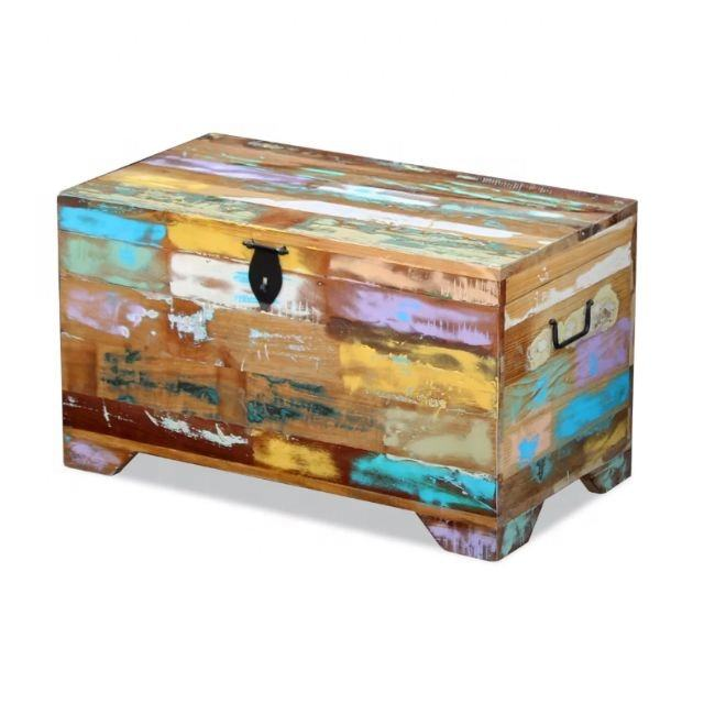Vintage Reclaimed Trunk Box Industrial Recycle wood Storage box Vintage Storage Boxes For Living Room