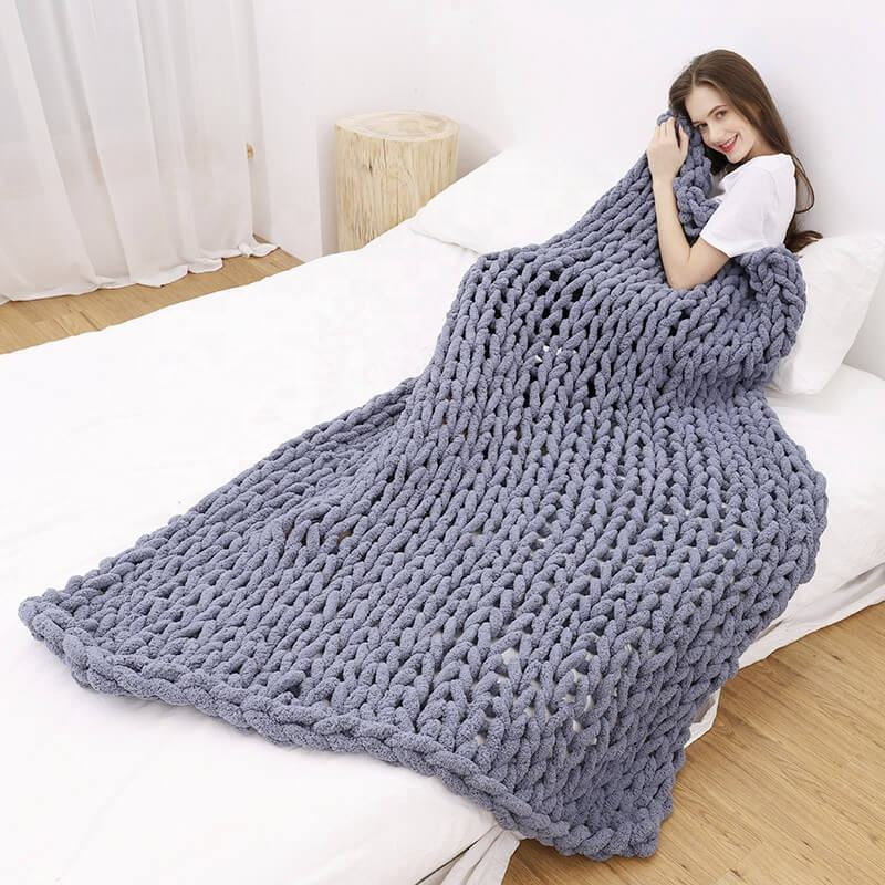 i@home New handmade thick super soft chenille chunky yarn knit throw blanket