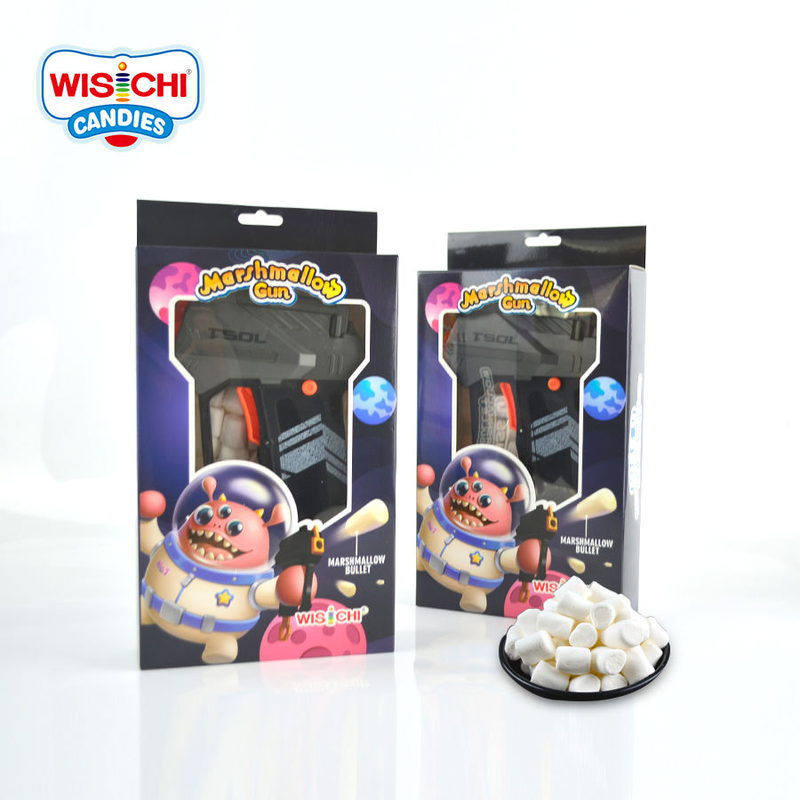 Free sample low price marshmallow fruit flavour marshmallow halal mini white marshmallow bullet gun toy candy