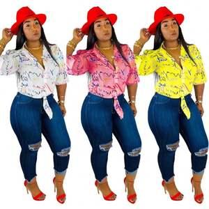 2021 summer factory supply asymmetrical print half sleeves woman blouse top