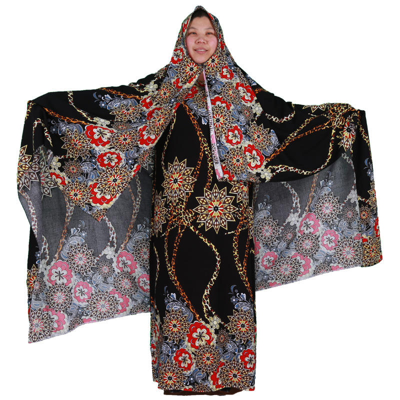 PolyesterプリントAbaya Arabic Dress African Female Clothes Full Sleeve Jilbab Kaftan Kimono Custom Dubai Dress Abaya