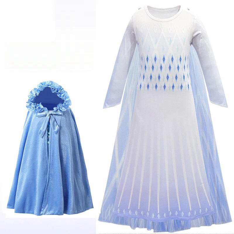 Girls New Elsa 2 Princess Dress Up Costume Children Long Sleeve Printed baby girl dress party cosplay costume