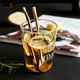 Stainless Steel Drinking Spoon Straws Filter Loose Leaf Tea Infuser Barware Stainer Stirring Straws with Cleaning Brush