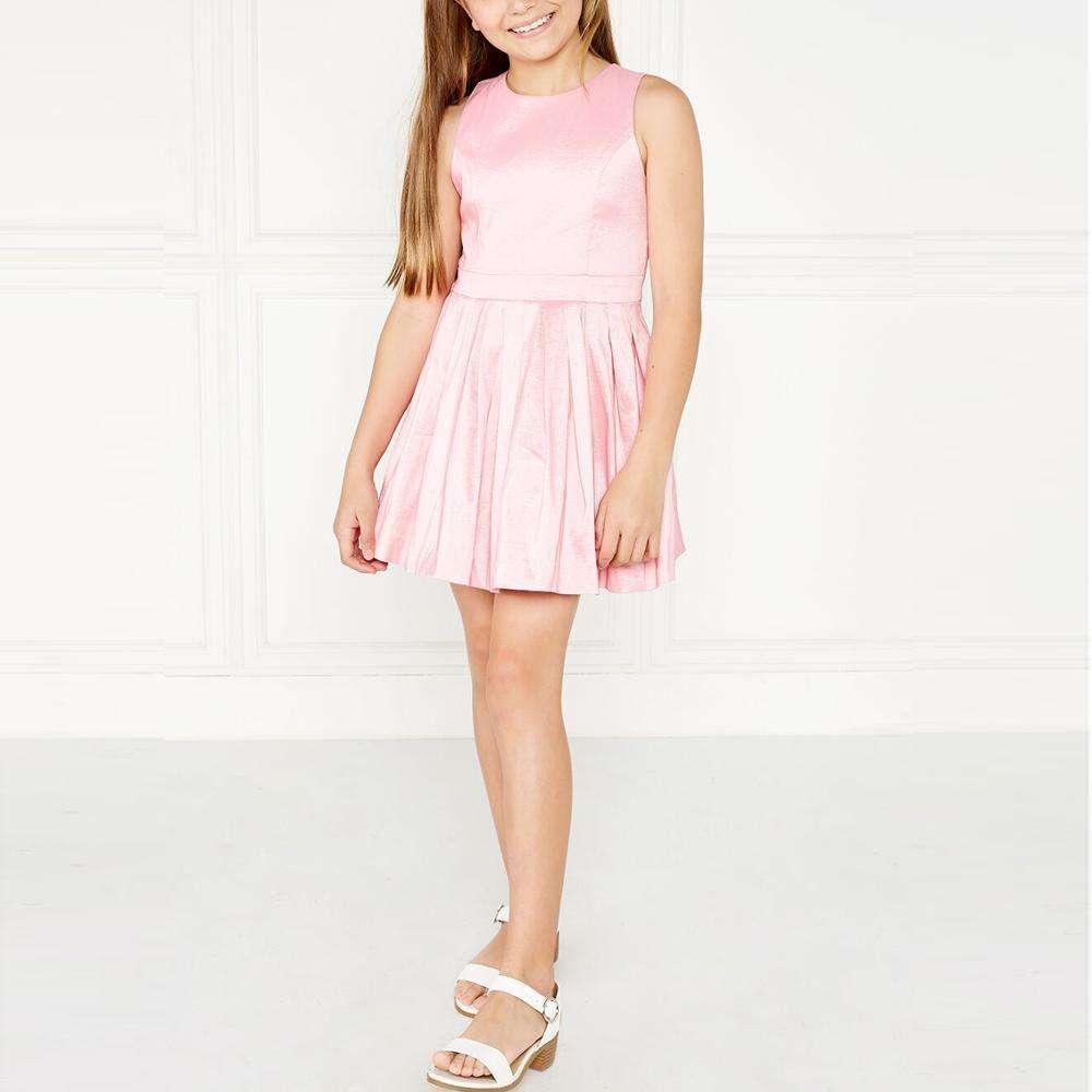 2020 nuevos productos europeo y americano de chicas de <span class=keywords><strong>moda</strong></span> elegante de color sólido de cuello redondo plisado vestido de