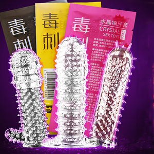 Male Full Cover Penis Sleeve Crystal Condom Delay Long Lasting Penis Extension Enlarger Reusable Condoms G-Spot Crystal Condom