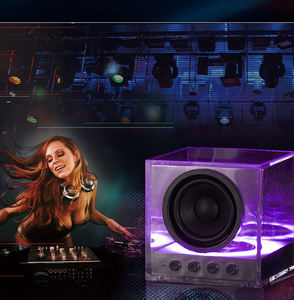 Waterproof Acrylic Wireless Bluetooth Speaker LED Portable Boom Box Outdoor Bass Subwoofer Sound Box with Mic Support TF FM USB
