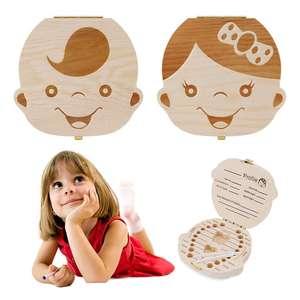 Wooden Milk Teeth Save Box Souvenir Box Organizer Holder Storage For Kids Baby Save 3-6 Years Girl Spanish Baby Tooth Box