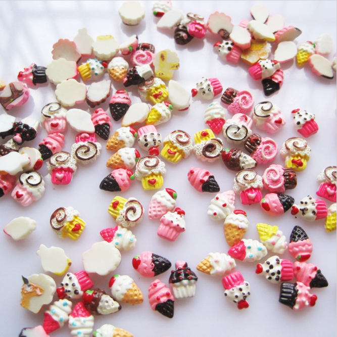 30pcs/bag Wholesale Colorful Manicure Accessories 3D Nail Art Charms Resin dessert Decorations Nail Art