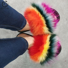 2020 New Hot Sell Rainbow Color Fox Fur Slides Indoor Women's Slippers Slides Custom