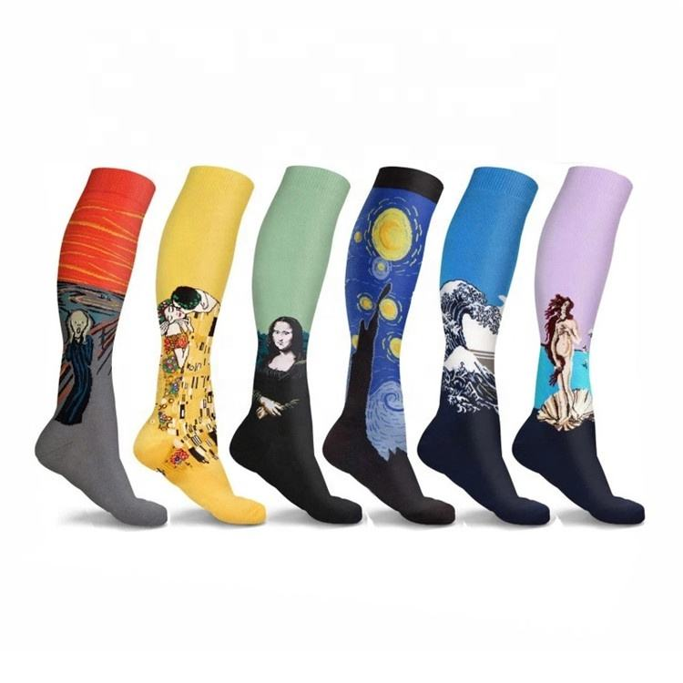 OEM Custom Made Fashion Polyester Cotton Mens Athletic Sublimation Compression Socks 15-30hmmg