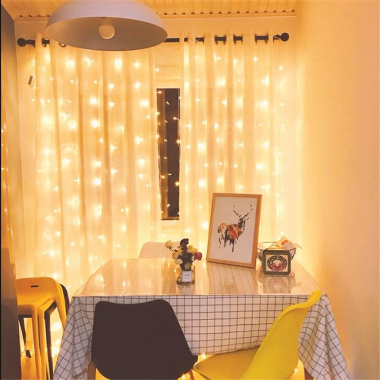 3*3 meters 300LEDs 8 lighting modes USB curtain string light home decor with timer and remote controller