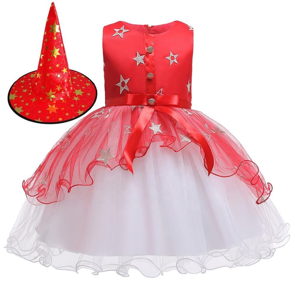 Hot Halloween girl clothes Halloween cosplay costume kids party girl dress printed cute new frock design baby girls' dresses