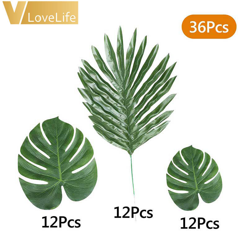 Vlovelife 36個Artifical Leaves Plants Fake Turtle Palm Leaves For Outdoor Party Decorations Wholesale