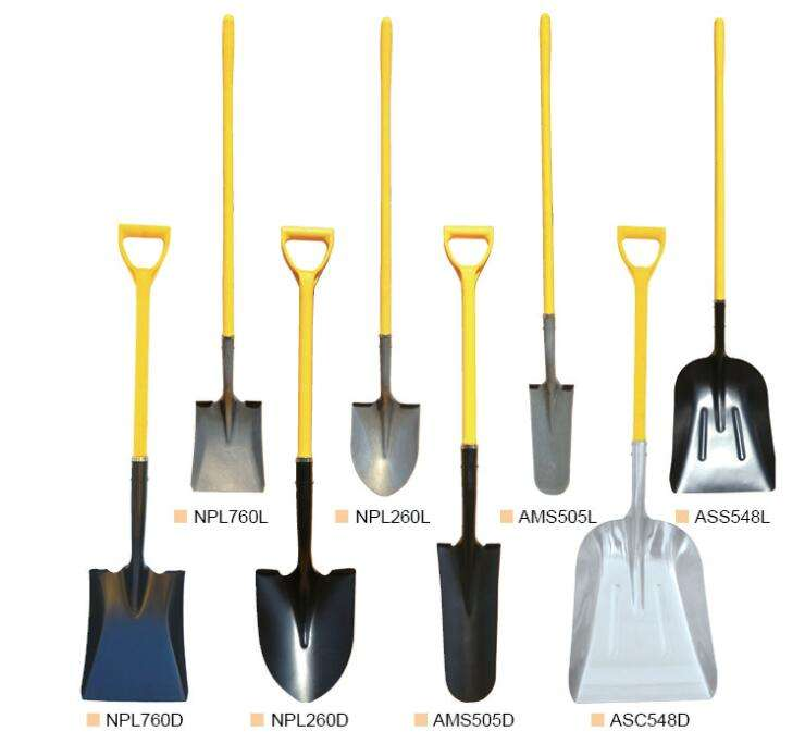 Durable steel shovel with handle for digging and trenching