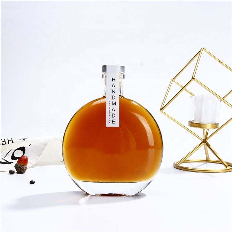 Wholesale Empty Flint Glass Flat Spirits Vodka Liquor Glass Bottle Coffee Bottle 250ml 500ml Thicker Base