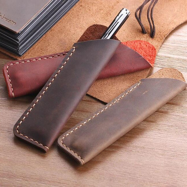 Father's Day Gift Handmade Pen Holder Real Genuine Leather Pencil Case