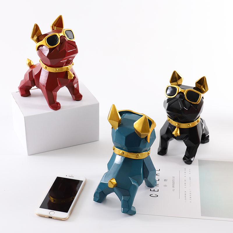 Nordic Style French Bulldog Statues Geometric Glasses Dog Animal Art Sculpture Resin Art&Craft Home Decor L3351